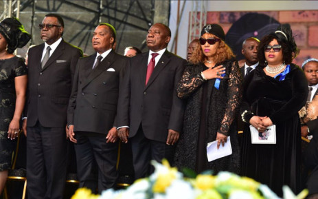 Zinani Mandela-Dlamini stands among dignitaries, including President Cyril Ramaphosa, at her mother, Winnie Madikizela Mandela's funeral in Orlando Stadium. Picture: @SAGovNews/Twitter