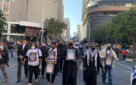 Supporters of former police officer Jeremy Vearey, community organisations, crime experts and the religious fraternity march to Parliament on 9 June 2021. They called on government to transform the SAPS and to put an end to corruption. Picture: Kaylynn Palm/Eyewitness News