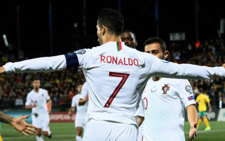Cristiano Ronaldo celebrates his goal against Lithuania in their Euro 2020 qualifier on 10 September 2019. Picture: @UEFAEURO/Twitter