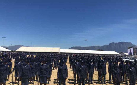 Members of the Anti-Gang Unit are seen in Hanover Park, Cape Town, during the official launch of the specialised unit on 2 November 2018. Picture: @SAgovnews/Twitter.