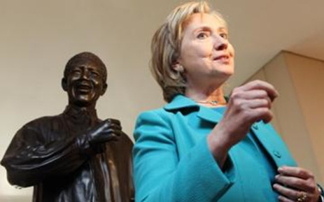 US Secretary of State Hillary Clinton paid a courtesy call to Nelson Mandela at his office in Houghton, on Friday 7 August 2009, before viewing his archival collections. Picture:Debbie Yazbek/Nelson Mandela Foundation.