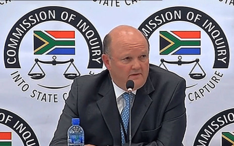 FILE: A screengrab shows Standard Bank's Ian Sinton giving evidence at the Zondo Commission of inquiry on 17 September 2018.