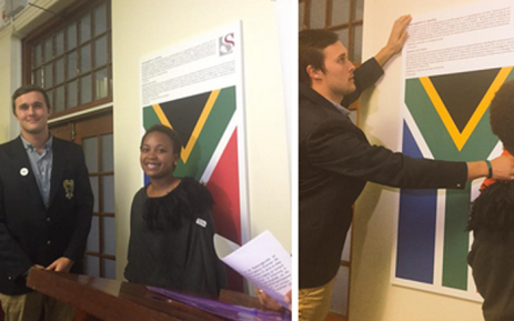 The South African flag has replaced the Verwoed plaque. Picture: Masa Kekana/EWN.