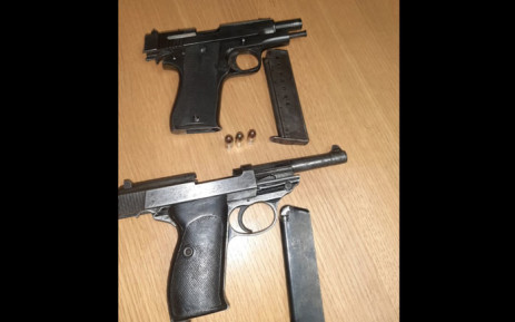 Police recovered firearms from suspects after a police officer was killed. Picture: @SAPoliceService/Twitter.