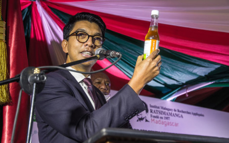 The president of Madagascar Andry Rajoelina attends a ceremony to launch 'Covid Organics' or CVO, in Antananarivo on 20 April 2020. CVO is a remedy from the Malagasy Institute of Applied Research (IMRA) created from the Artemisia plant and is supposed to prevent any infection by COVID-19. Picture: AFP
