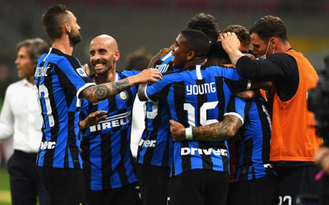Inter Milan players celebrate a win. Picture: @Inter_en/Twitter