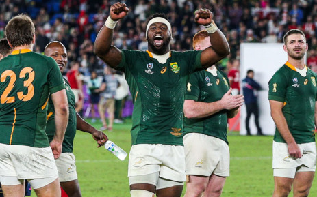 Springbok captain Siya Kolisi celebrates with his team after beating Wales 19-6 during their semi-final World Rugby match on 27 October 2019. Picture: www.springboks.rugby