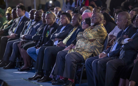 Members of the ANC listen to President Cyril Ramaphosa's address at the IEC Results Operations Centre in Tshwane. Picture: Thomas Holder/EWN.