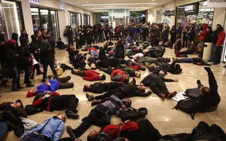 Protesters interrupt Black Friday in Seattle. Picture: Twitter @KOINNews.