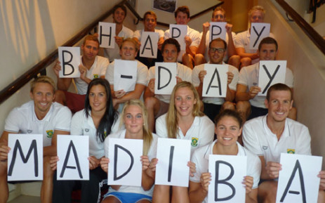 The SA Olympic Swimming Team sent Madiba their well wishes on his birthday last year. Picture: Swimming South Africa.""