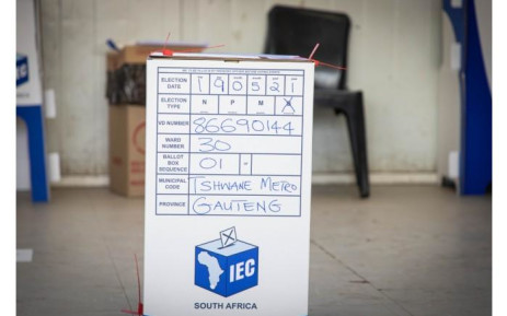 A ballot box where voters place their ballots once they've cast their votes at Rantailane Secondary School in Ga-Rankuwa. Picture: Boikhutso Ntsoko/Eyewitness News