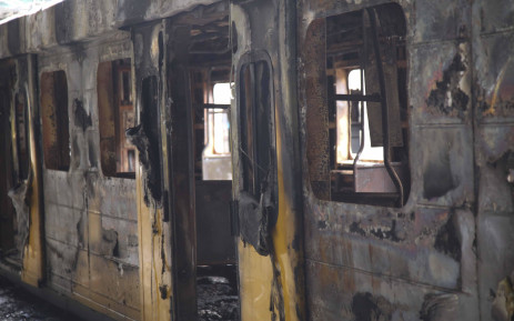 FILE: A train coach torched by angry commuters at CT Station. Untu-aligned train drivers refuse to work on the central line last week. Metrorail described this line as the most dangerous route in WC. Picture: Cindy Archillies/EWN