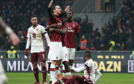 Zlatan Ibrahimović and teammates celebrate after a goal during a match against Torino FC on 28 January 2020. Picture: @acmilan/Twitter.