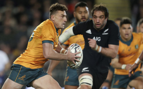 Australia's Tom Banks runs with the ball during the first rugby Test of Bledisloe Cup between the New Zealand and Australia at Eden Park in Auckland on 7 August 2021. Picture: Michael Bradley/AFP