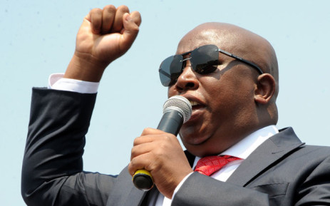 Economic Freedom Fighters leader Julius Malema addresses a crowd of supporters outside the Polokwane High Court on 30 September 2014. Picture: Sapa.