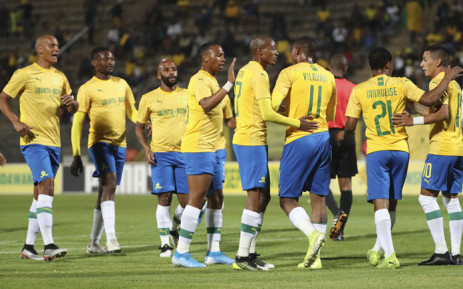 Mamelodi Sundowns players celebrate a win in the CAF Champions League. Picture: @Masandawana/Twitter