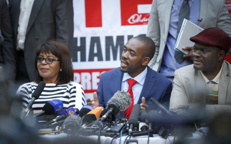MDC Alliance leader Nelson Chamisa addresses the press on the elections thus far, stating they have been rigged. Thomas Holder/EWN.