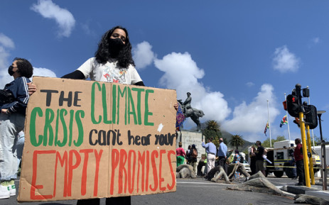 Members of the African Climate Alliance, a youth-led organisation, handed over a memorandum to the South African government on 24 September 2021 demanding an end to all public and private capital investment in fossil fuel-intensive industries and a commitment to eliminate all fossil fuel electricity production by 2035. Picture: Kaylynn Palm/Eyewitness News