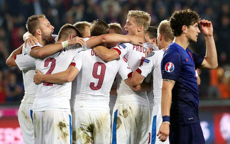 Czech Republic celebrate after beating Netherlands 2-1 in their opening game of the Euro 2016 qualifiers in Prague. Picture: AFP