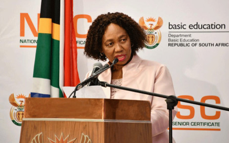 Minister of Basic Education Angie Motshekga announcing the results of the 2020 matric examinations on 22 February 2021 in Pretoria. Picture: GCIS.