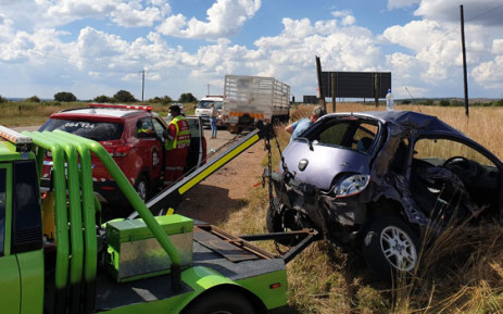 A man was seriously injured in a vehicle collision on the R501 near Potchefstroom on 2 April 2021. Picture: @ER24EMS/Twitter