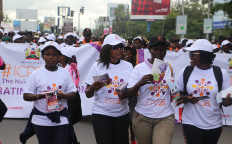 Volunteers at the International Conference on Population and Development march through Nairobi on 11 November 2019 ahead of the opening of the summit on 12 November 2019. Picture: @NairobiSummit/Twitter