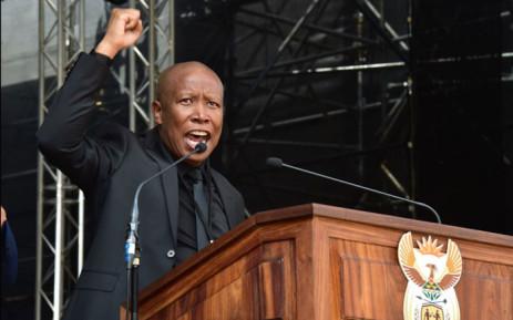 EFF leader Julius Malema speaking at Winnie Madikizela-Mandela's funeral at Orlando Stadium. Picture: GCIS