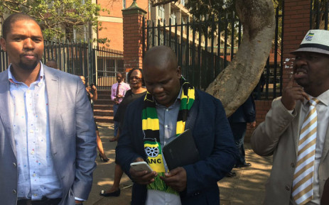 Three members of the now disbanded KZN ANC provincial executive committee standing outside the Pietermaritzburg High Court. Picture: Ziyanda
