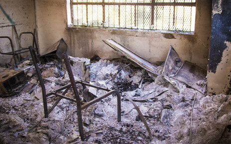 A torched classroom at Tshinavhe Secondary School in Vuwani. Picture: Thomas Holder/EWN
