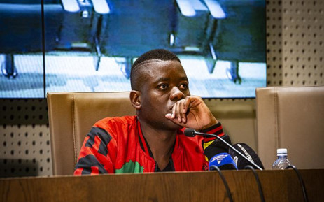 Fees Must Fall activist Bonginkosi Khanyile calls for amnesty from the President at a media briefing. Picture: Kayleen Morgan/EWN