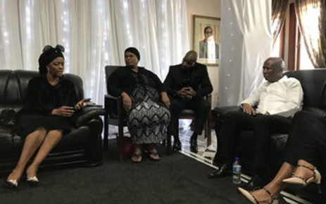 EFF leader Julius Malema with the Mugabe family on their visit to pay respects to Robert Mugabe. Picture: Twitter @EFFSouthAfrica. .