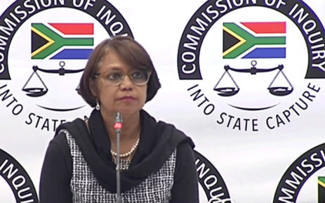 A screengrab shows SAA's former head of treasury Cynthia Stimpel at the state capture inquiry on 14 June 2019.
