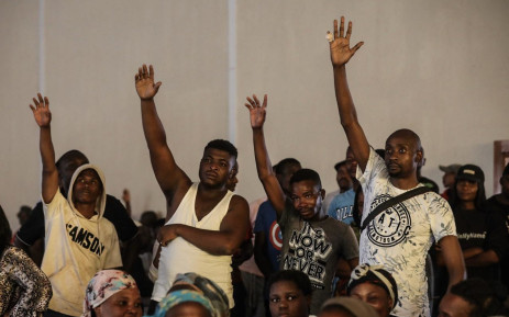 Disgruntled residents displaced by the Tshwane floods react to Gauteng Premier David Makhura's address at Mamelodi Baptist Church on 11 December 2019. Picture: Abigail Javier/EWN