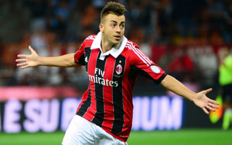 AC Milan's forward Stephan El Shaarawy celebrates after scoring a goal during the Serie A football match between AC Milan and Cagliari, on 26 September 2012 in Milan, at the San Siro stadium. Picture: AFP.