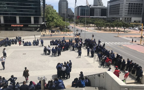 MyCiTi bus drivers strike at the Cape Town Civic Centre on 15 October 2018. Picture: Kaylynn Palm/EWN