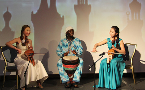 African drummer Ala Abdul with Kazakhstan musicians. Picture: Taurai Maduna/EWN