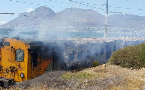 A Metrorail train caught fire in Fish Hoek on Thursday 21 January 2015. Picture: Russel Human.