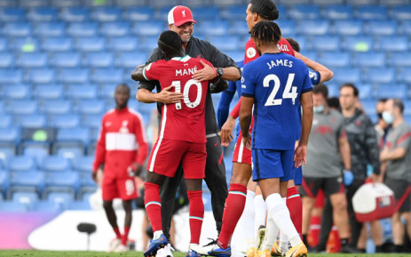 Liverpool manager Jurgen Klopp hugs Sadio Mane after his two goals helped the side to a 2-1 win over Chelsea in their English Premier League match on 20 September 2020. Picture: @LFC/Twitter