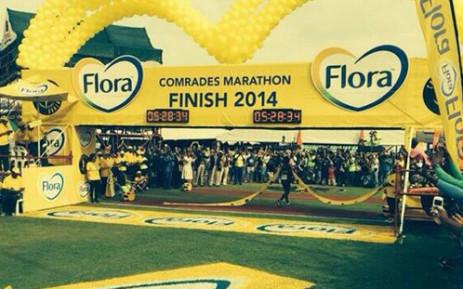 Bongumusa Mthembu wins the Comrades Marathon on 1 June 2014. Picture: @Jateen904/Twitter
