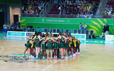 Members of the South African netball team at the Commonwealth Games on 6 April 2018. Picture: @Netball_SA/Twitter