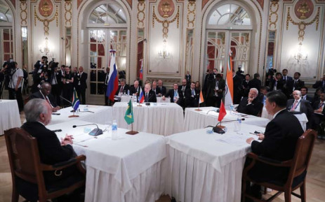 Brazil's President Michel Temer (L), South Africa's President Cyril Ramaphosa (2-L) Russia's President Vladimir Putin (C), India's Prime Minister Narendra Modi (2-R) and China's President Xi Jinping, hold a BRICS Leaders' meeting in the sidelines of the G20 Leaders' Summit in Buenos Aires, on 30 November 2018. Picture: AFP