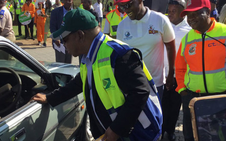 Transport Minister Blade Nzimande at the Easter Road Safety enforcement activation on the N1 North on 18 April 2019. Picture: @DoTransport/Twitter