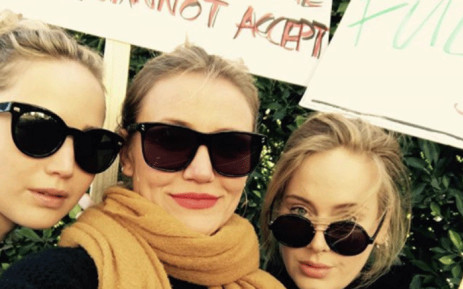 Adele pictured with Cameron Diaz (C) and Jennifer Lawrence (L). Picture: @adele/Instagram