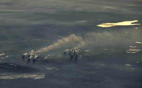 An aerial view of a Johannesburg power station as seen from an aircraft on 23 June, 2010. Picture: AFP