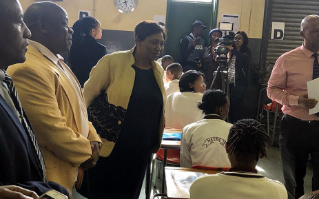 Basic Education Minister Angie Motshekga interacts with Reiger Park Secondary School matric pupils on 23 October 2018. Picture: @DBE_SA/Twitter