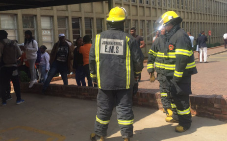 Firefighters seen at the University of Johannesburg's Bunting Road campus where lecture halls have been set alight. Picture: Dineo Bendile/EWN.