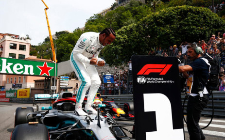 Mercedes driver Lewis Hamilton celebrates his pole position for the 2019 Monaco Grand Prix on 25 May 2019. Picture: @MercedesAMGF1/Twitter