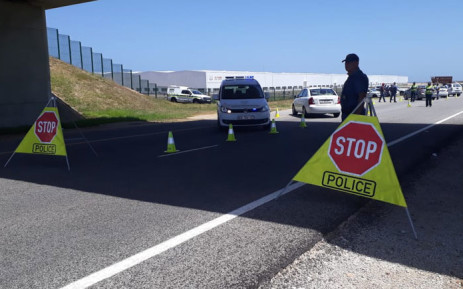 A police roadblock. Picture: @SAPoliceService/Twitter