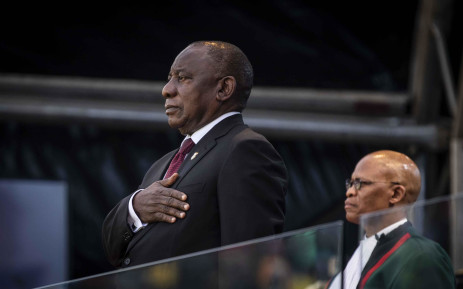 President Cyril Ramaphosa sings the national anthem at his inauguration ceremony at Loftus Versfeld Stadium on 25 May 2019. Picture: Abigail Javier/EWN