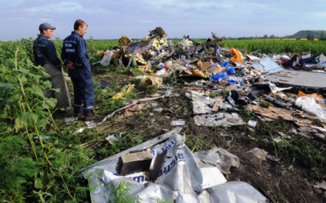 Employees of the Ukrainian State Emergency Service look at the wreckage of Malaysia Airlines flight MH17 two days after it crashed in a sunflower field near the village of Rassipnoe, in rebel-held east Ukraine, on 19 July 2014. Picture: AFP